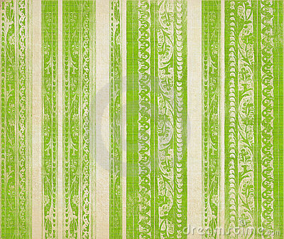 Green  floral wood carved stripes