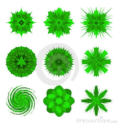 Green flower shapes