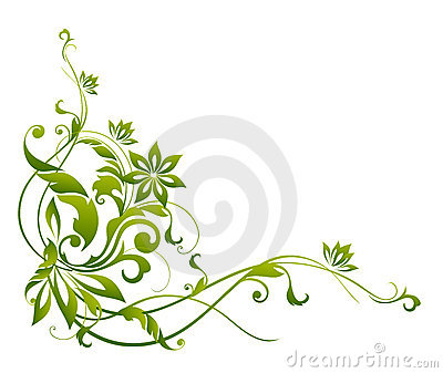 Green flower and vines pattern