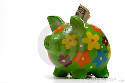 Green Flowery Piggy Bank