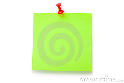 Green fluorescent sticker on red thumbtack