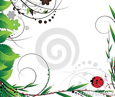 Green foliage and ladybug