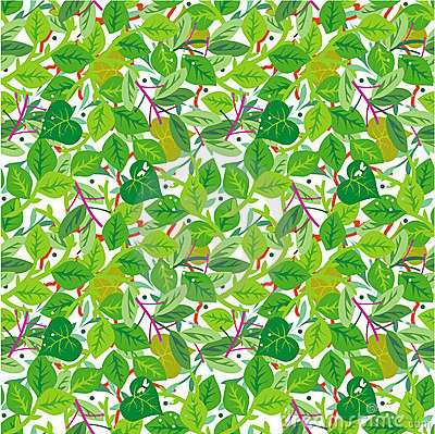 Green foliage seamless pattern