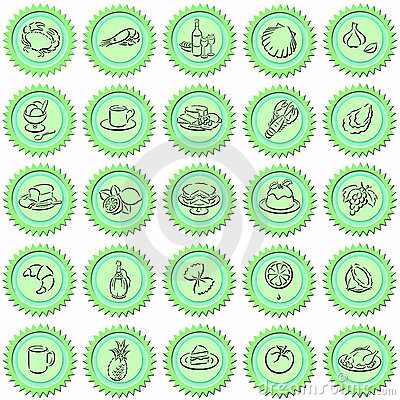 Green food buttons