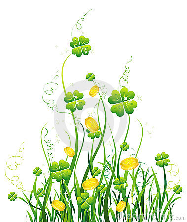 Green four-leaves and yellow wild flower