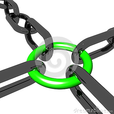 Green Four Link Shows Connection and Togetherness