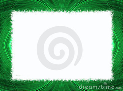 Green Fractal Border with White Copy Space