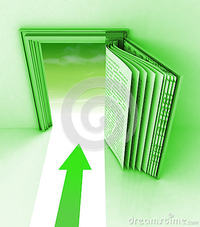 Green frame with open book and arrow