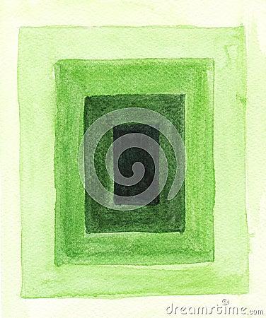 Green frames in watercolor