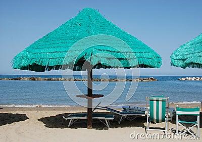 Green Fringed Beach Umbrella