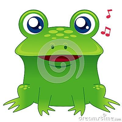 Green frog singing