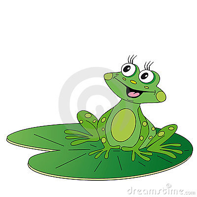 Green frog sitting on green leaf