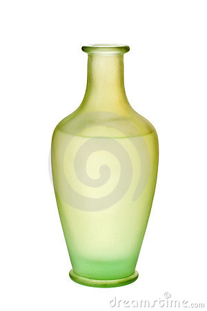 Green Frosted Glass Vase Isolated