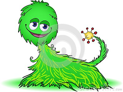 Green furry creature