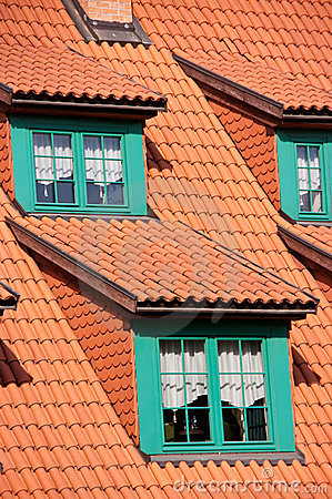 Green gables red tile roof