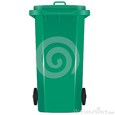 Green garbage bin with wheels