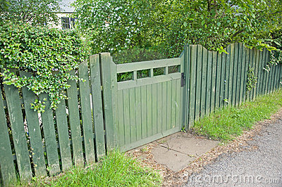 Green Garden Gate And Fence Stock Photography Image