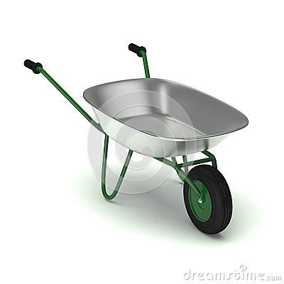 Green garden wheelbarrow  on white.
