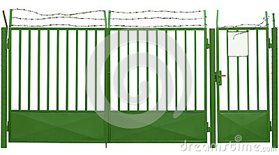 Green gate with barbed wire