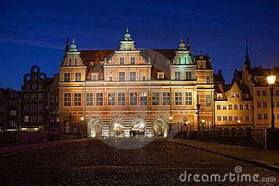 Green Gate in Gdansk Editorial Stock Image