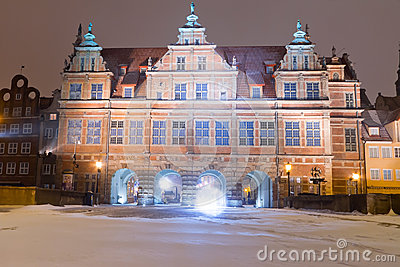 Green gate of Gdansk old town in winter scenery