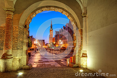 Green gate view for Gdansk at night