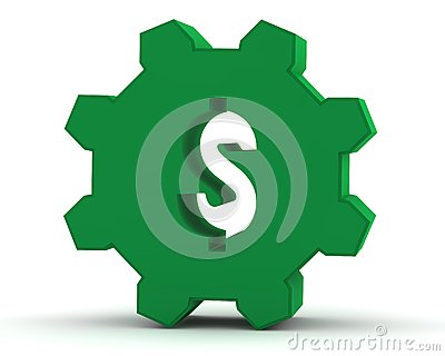 Green gear with a dollar sign