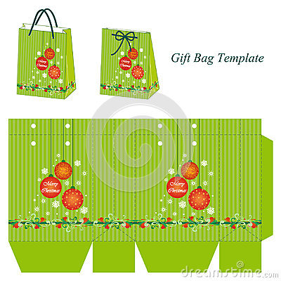 Free Green Gift Bag Template With Christmas Balls Royalty Free Stock Photos - 46634398