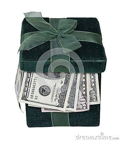 Free Green Gift Box Full Of Money Royalty Free Stock Photo - 22368875