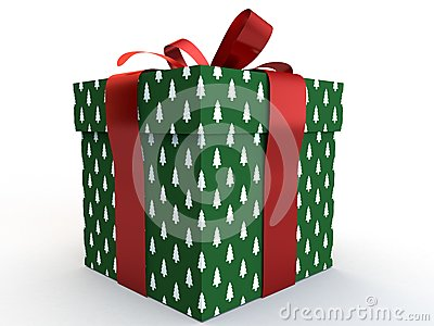 Green Gift box with ribbon bow 3d illustration rendering