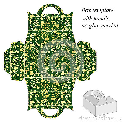 Free Green Gift Box Template With Floral Pattern Royalty Free Stock Image - 47282776