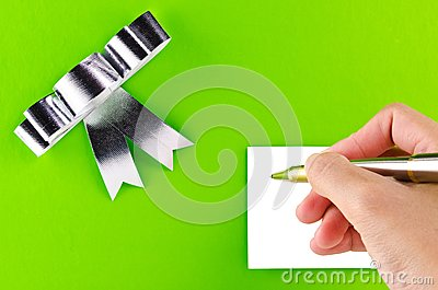 Green gift with hand