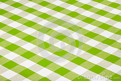 Green gingham checkered tablecloth