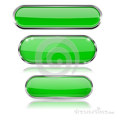 Free Green Glass 3d Buttons With Chrome Frame. Oval Icons Stock Image - 116084781