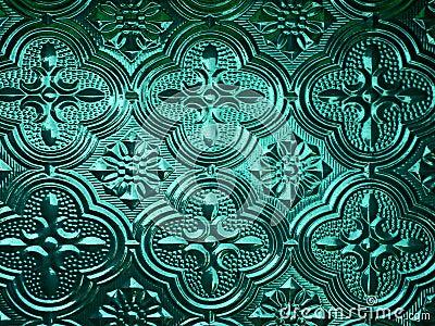 Green glass plate backlit