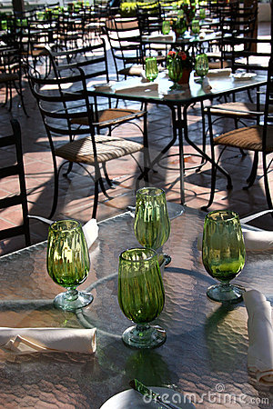 Green Glassware in Outdoor Cafe