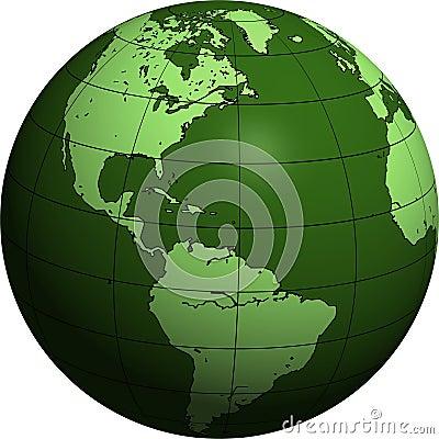 Green globe: America