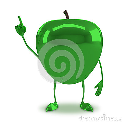 Free Green Glossy Apple Character Stock Photos - 52708193
