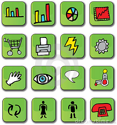 Green Glossy Business Icons