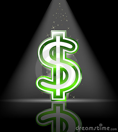 Green glossy dollar sign