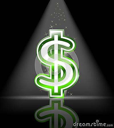Green glossy dollar sign