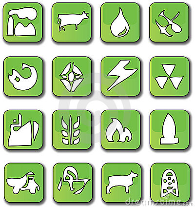 Green Glossy Industry Icons