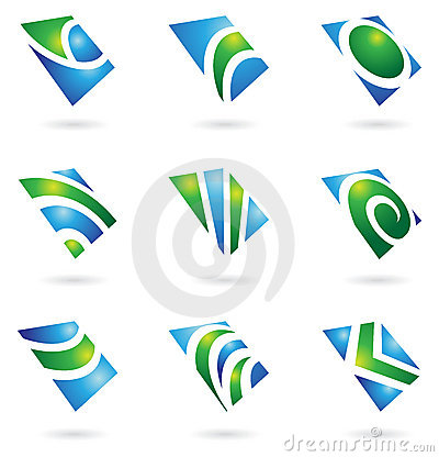 Green glossy logos