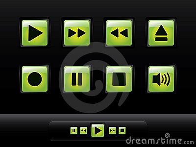 Green glossy music buttons