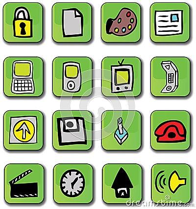 Green Glossy Web Icons
