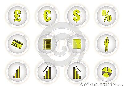 Green glow buttons financial