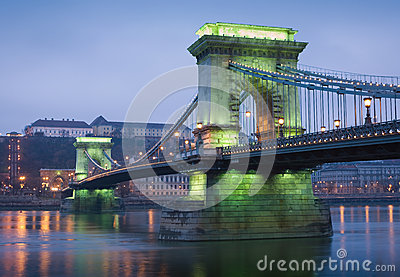 Green glow on the Chain bridge.