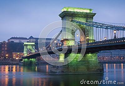 Green glow on the Chain bridge.