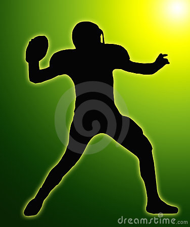 Green Glow SilhouetteFootball Quarterback