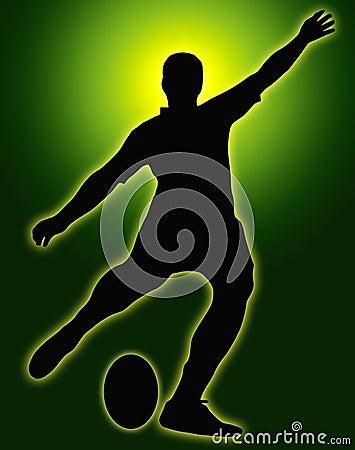 Green Glow Sport Silhouette - Rugby Kicker
